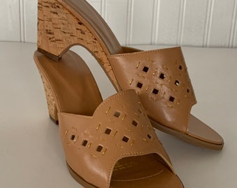 Vintage 70s Deadstock Size 8 Vegan Leather Sandals Nude Tan Gold Wedge Cork Heel Mint New Condition Spring Boho Shoes 38 39 7.5