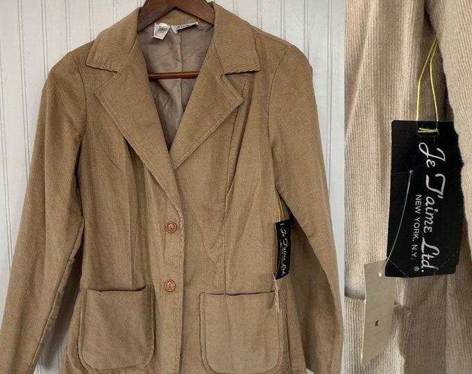 NWT Deadstock Vintage 80s Corduroy Tan Khaki Blazer Beige Jacket Pockets Small Jacket S Sm