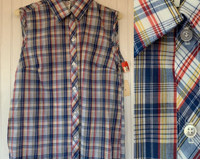 NWT 80s Vintage Plaid Sleeveless Top Size Small Blue Red White Yellow Button Down Shirt S/M Med Medium Deadstock Western 70s 34 Blouse