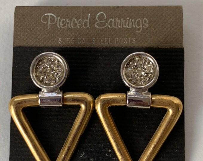 Vintage 90s Deadstock Earrings Pair Faux Gold Silver Triangle Circle Stones Dangling Hoops Unique NOS Unworn 1980s Funky Pierced Ears