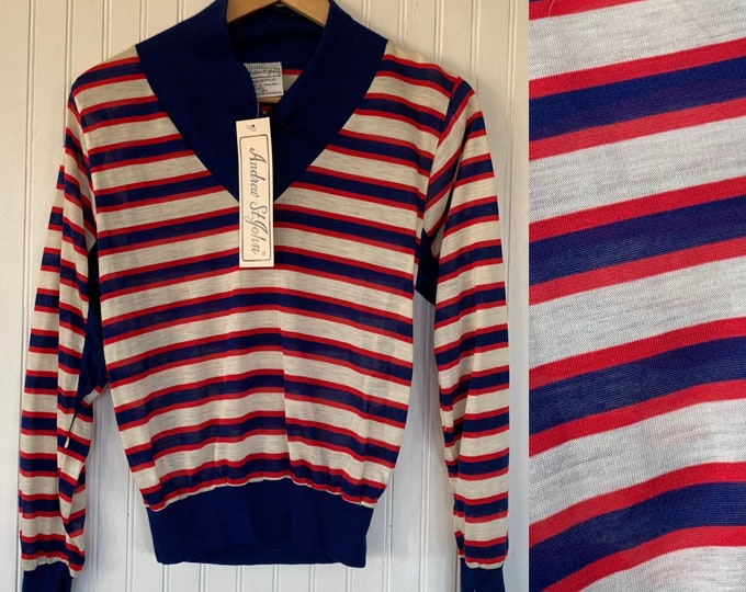 Vintage 70s 80s XS Red White Blue Horizontal Striped Long Sleeve Top Shirt XS/S Size Small deadstock Sportswear Comfy