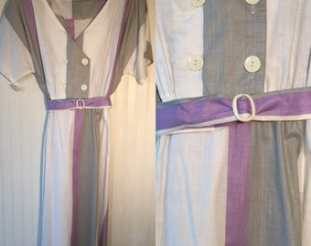 Vintage NWT 80s Plaid Dress Size M Purple Grey White Pastel Printed Short sleeve Pin Up Summer Fresees M Medium M/L Large