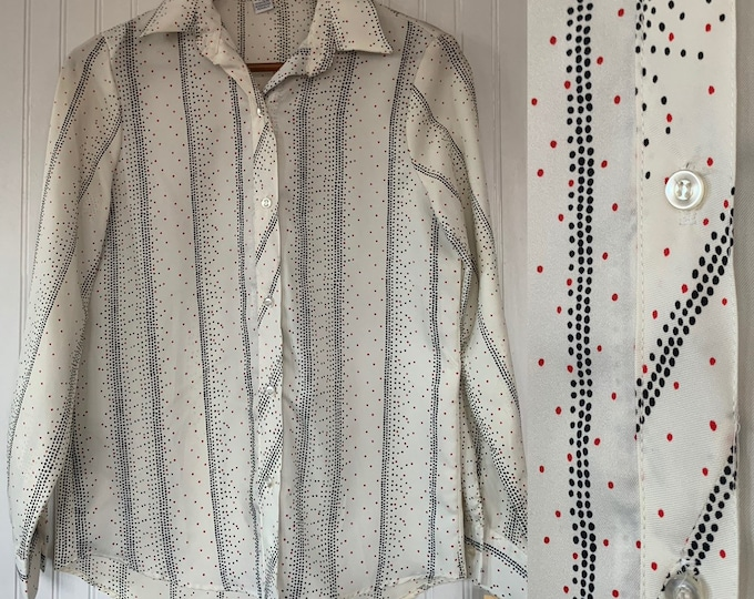 Vintage Deadstock 80s Red Black White Dots Groovy Disco Shirt Button Down Top Size Medium Small S Med Long Sleeve trippy Blouse