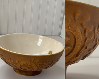 Deadstock Vintage 60s Haeger Mustard Tan Bowl Planter Scroll Floral Home Decor Wedding Gift Vases Mod Mid Century Indoor Plant Serving Dish