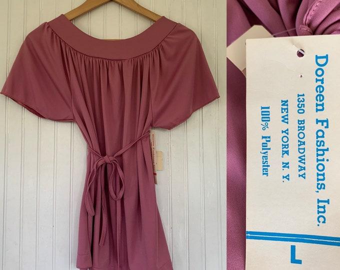 Vintage Deadstock 70s Large Rose Pink Peasant Top nos Tops Med Medium M/L Short Sleeves 38 Boho Blouse Tie Belt 80s Pastel Mauve Summer