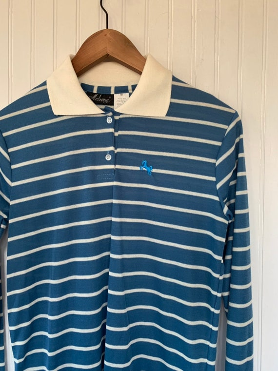 NWT 80s Vintage Sailboat Pastel Pink Turquoise Blue White Red Striped Short Sleeve Polo Shirt Size Small Top Deadstock Preppy Eighties XS S
