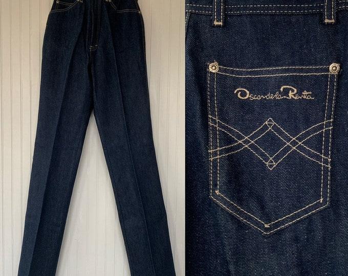 Rare NWT Vintage 80s Deadstock Oscar De La Renta High Waisted Dark Denim Blue Jeans 26 waist Rise Pockets Original Tag XS 0 2 Long Pleated