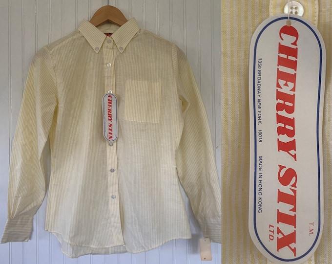 Vintage 80s Deadstock Yellow White Stripe Button Down Shirt Small Medium S M NWT 38 Oxford Spring Check Unisex Top Pastel
