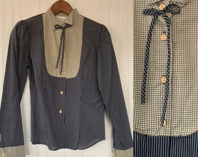 Vintage Deadstock 80s XS Navy Blue and Off White Striped Bow Neck Puff Sleeve Shirt Button Down Blouse Darts 32 Small Western Boho