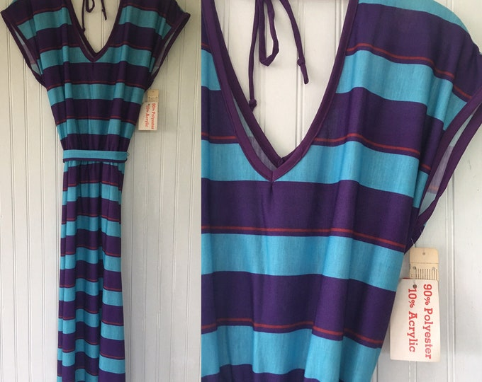 NWT Vintage Donna Stripe V Neck Dress - Blue, Purple, Turquoise, Red - Size XS Small S- Deadstock 1979 Ringer Tee Striped