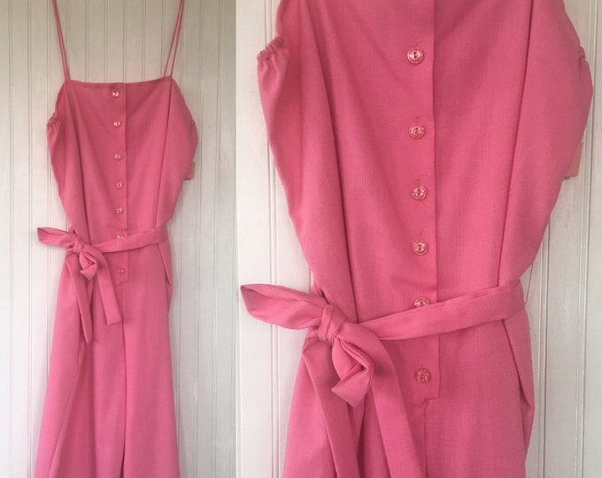 Vintage 70s Bright Pink Romper Shorts One Piece Jumper Medium M 6 8 10 New with Tags from 1979 Deadstock Festival Eighties