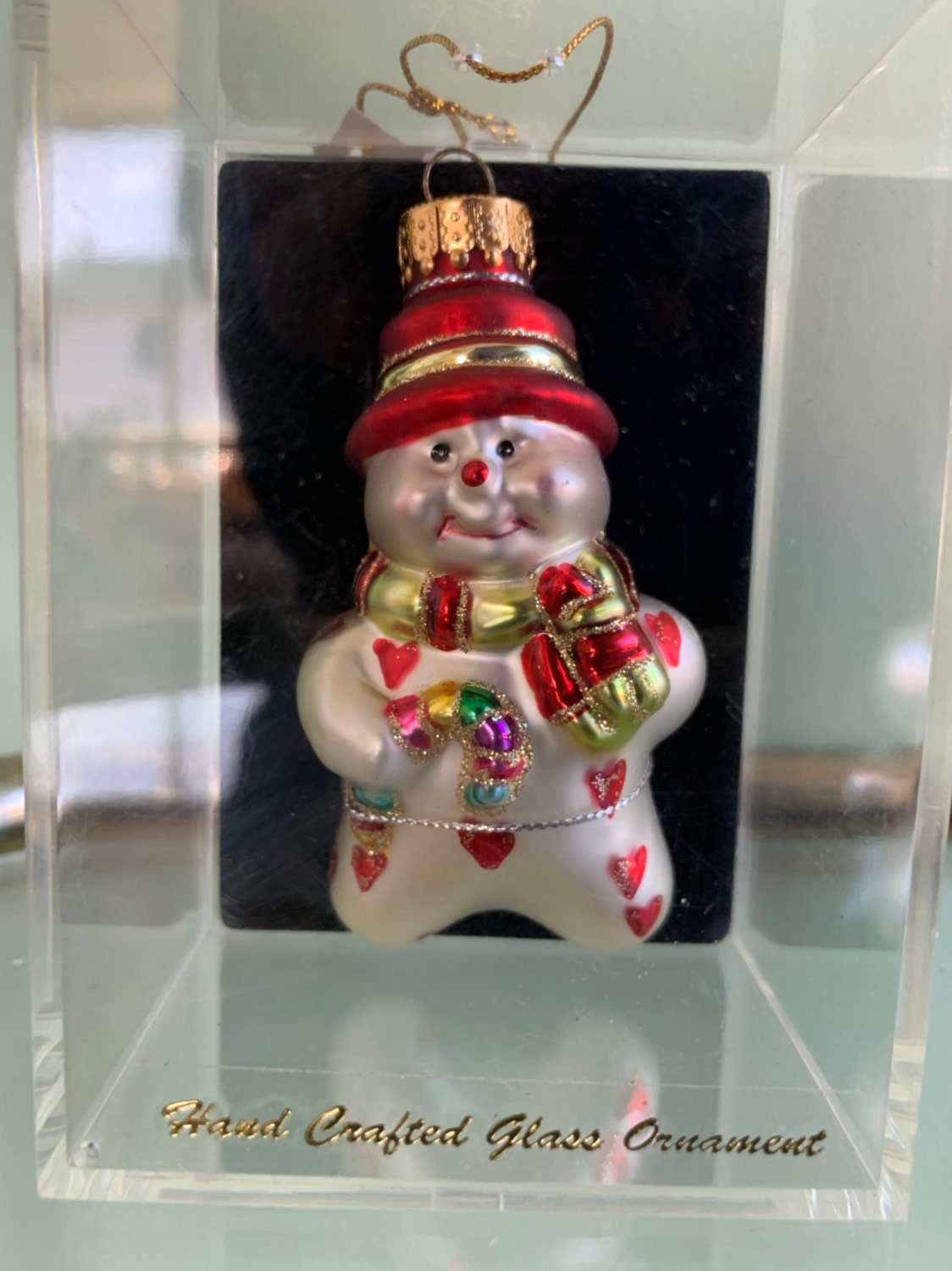 90s Christmas Tree Decorations.Vintage 90s Handcrafted Glass Snowman Christmas Ornament