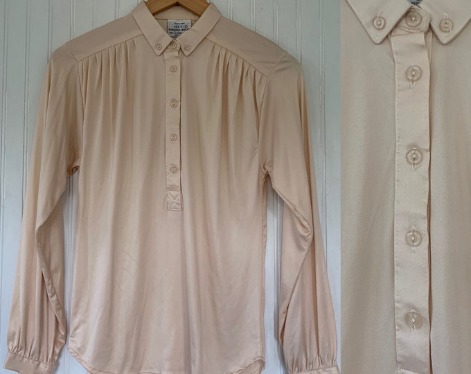 Deadstock Vintage Small Nylon Ivory Disco Blouse Shirt Button Down Top Size Off White Stretch NWT 70s 80s S XS/S shiny Ruched Shoulders