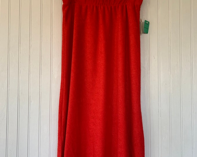 Vintage 80s XS Red Terry Cloth Skirt Deadstock Terrycloth Tennis Dress Vacation 70s 25 waist high waisted midi skirts
