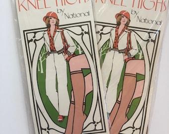 Brand New from 70s Lot of 2 Pairs Nude Knee High Stockings in original packaging unworn hosiery pantyhose vintage Seventies Stocking Stuffer