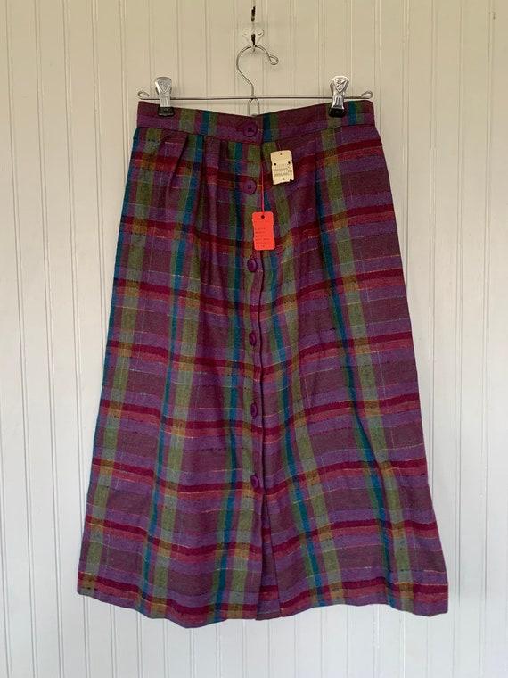 Vintage XS 80s Deadstock Plaid Skirt Purple Pink … - image 2