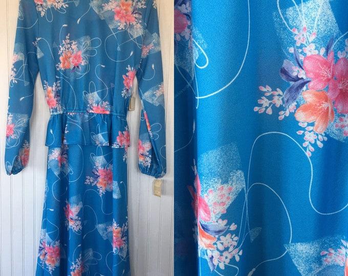 Vintage 70s Pastel Blue Pink Floral Boho Dress Peplum Size M 6 8 10 L Medium Seventies Eighties 80s NewTags 1979 Wedding Festival Spring
