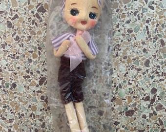 New 60s Vintage Car Mascot Doll Japan Adorable Kitsch Toys Original Packaging Kawaii Girls Dolls Stripes Corduroy Skirt Red Shoes Gift Rare