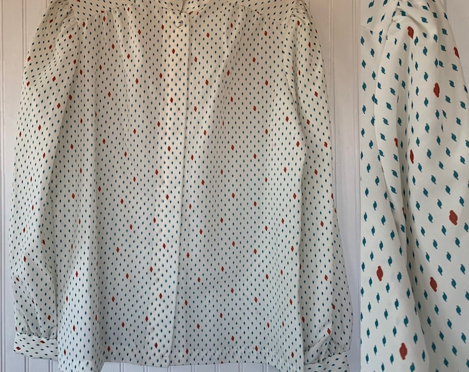 NWT Vintage Large Puff Sleeve Shirt Ivory off white rust green patterned Deadstock Boho Secretary 38 Blouse L/M Med Groovy Top Abstract