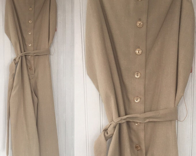 Vintage 70s Khaki Beige Romper Shorts One Piece Jumper Medium M 6 8 10 New with Tags from 1979 Deadstock Festival Eighties Khakis