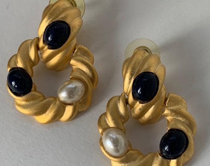 Vintage 90s Deadstock Earrings Pair Faux Gold Navy Blue Pearl Stones Dangling Hoops Rope Unique NOS Unworn nineties Funky Large