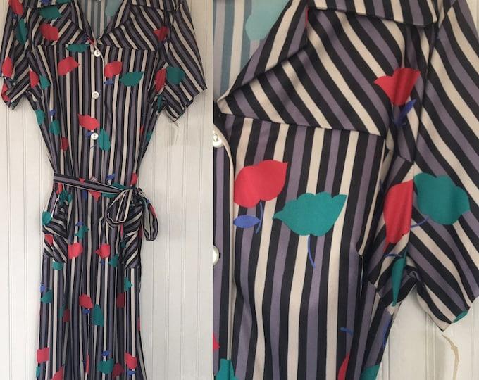 Vintage NWT 70s Bright Multi Black Gray Red White Blue Striped Dress Size M / L  Deadstock Medium Large 80s Summer Festival House Dresses