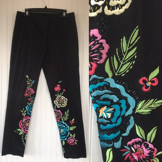 Vintage 90s Cache Black Embroidered Dress Pants Be