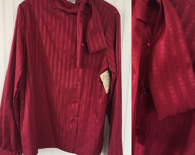1979 NWT Vintage Burgundy Maroon Dark Red Blouse Button Down Pussy Bow Tie Collared Top Size Small / Medium - Deadstock Dress Shirt Seventie