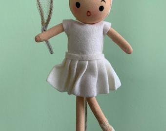 New 60s Vintage Mini Doll Japan Adorable Kitsch Toys Original Packaging Kawaii Girls Dolls Red Hair White Dress Shoes Gift Tennis