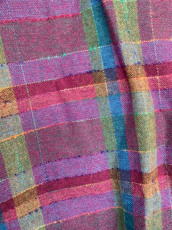 Vintage XS 80s Deadstock Plaid Skirt Purple Pink … - image 6