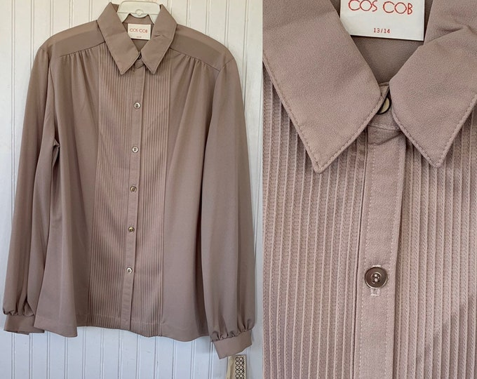 Vintage Deadstock 80s Nude Beige Sheer Pleated Front Long Sleeve Shirt Top Button Down Blouse Medium M 38 Large LG L Deadstock Boho Tuxedo M