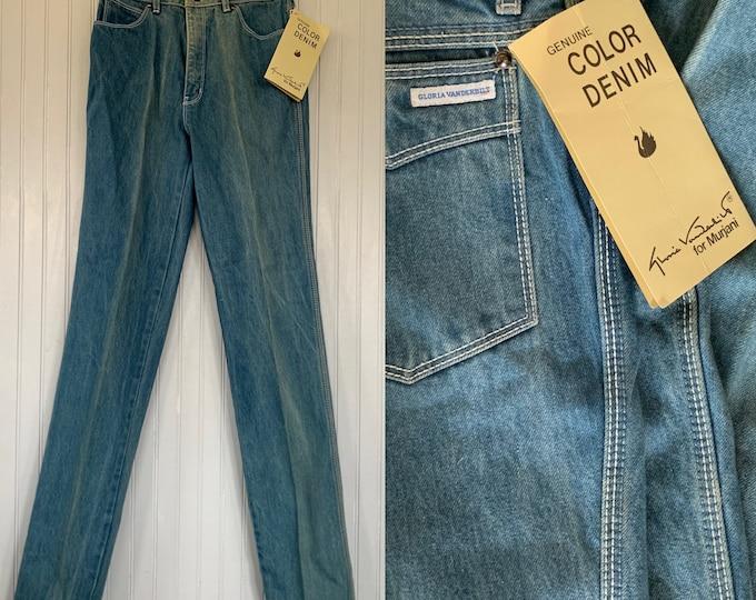 Vintage 70s 26 Gloria Vanderbilt Deadstock Light Blue Jeans High Waisted Denim NOS Size 0 2 xs Dirty Wash Unique NOS Murjani Mom Jean 25
