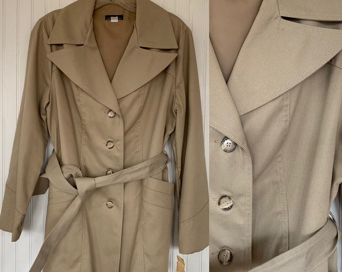 NWT Vintage 80s Khaki Trenchcoat Tan Jacket Coat Medium M Med 70s Deadstock Trench Spring Jackets Belted Pockets Wide Collar