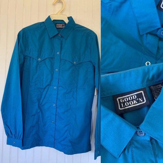 Deadstock Vintage Bright Blue Snap Front Long Slee