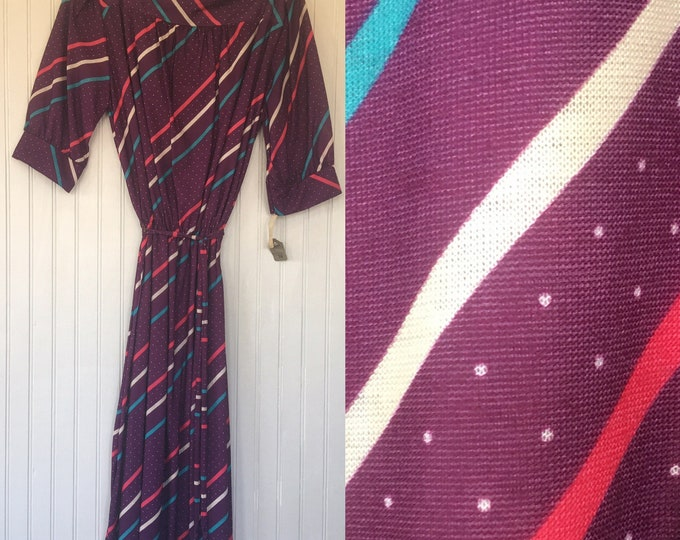 Vintage NWT Size S Small Purple Aqua Pink White Dots Striped Dress Boat Neck 3/4 Sleeved Comfy Sexy - 1979 70s 80s Festival Puff Sleeve
