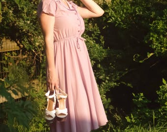 NWT Vintage Heartbreaker Lavender Purple Dress - Size 7 Small - Deadstock 1979 Pinup Spring Purple Sheer Retro