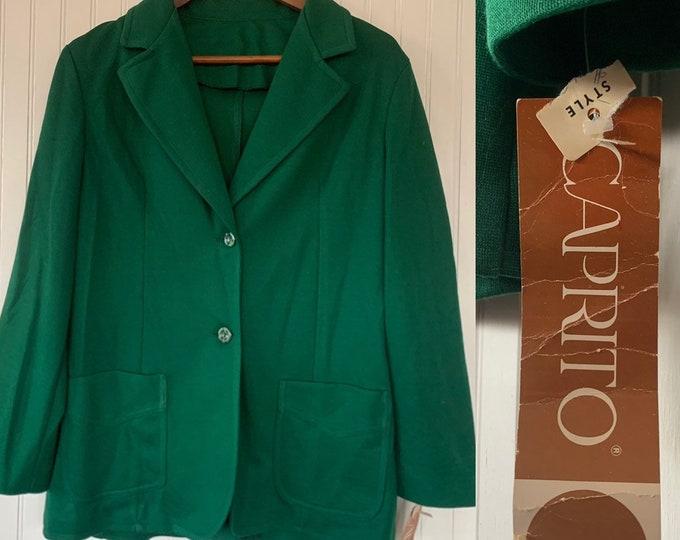NWT Deadstock Vintage 80s Green Blazer Jacket Pockets 36 Medium Large M Med M/L Khaki Caprito Christmas