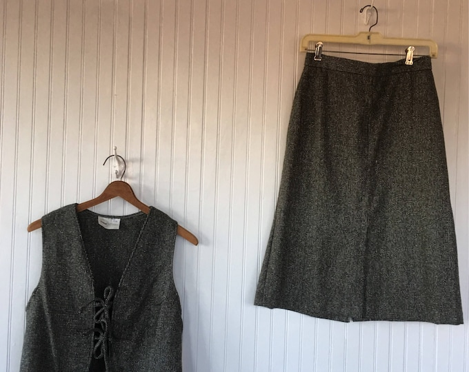 Vintage Vest Skirt Suit Tweed Black White 28 waist 36 bust Size Medium Small S/M New With Tags from 1979 70s tie front set boho Deadstock