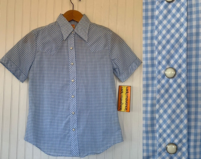 NWT Vintage 80s Gingham Blue White Check Short Sleeve Top Size 32 XS Small Snap Down Shirt Deadstock Western Plaid