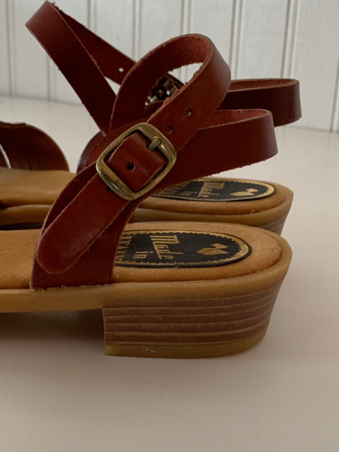 50522121b2eb6 Vintage 70s Deadstock Size 8 Leather Sandals Made in Italy Wine Red ...