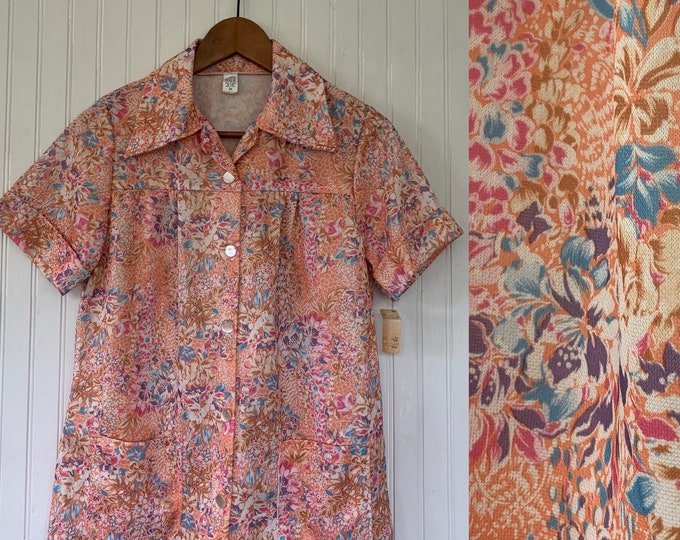 Vintage Deadstock Floral Smock Top small Medium S/M Med Shirt Short Sleeve Coral Pink Blue Flowers Polyester Wide Collar Pockets 70s 80s 34