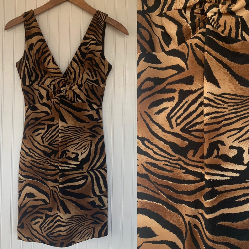 a824efd7a270 Vintage 90s Cache Mini Dress Size 4 XS Small Nineties Tiger | Etsy