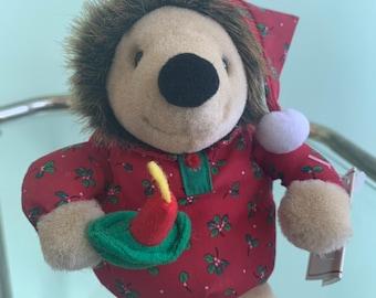 Vintage Holiday 90s NWT Mini Plush Hedgehog Stuffed Animal Christmas Toy Stocking Stuffer Nineties Porcupine Gift Kids Toys Deadstock Rare