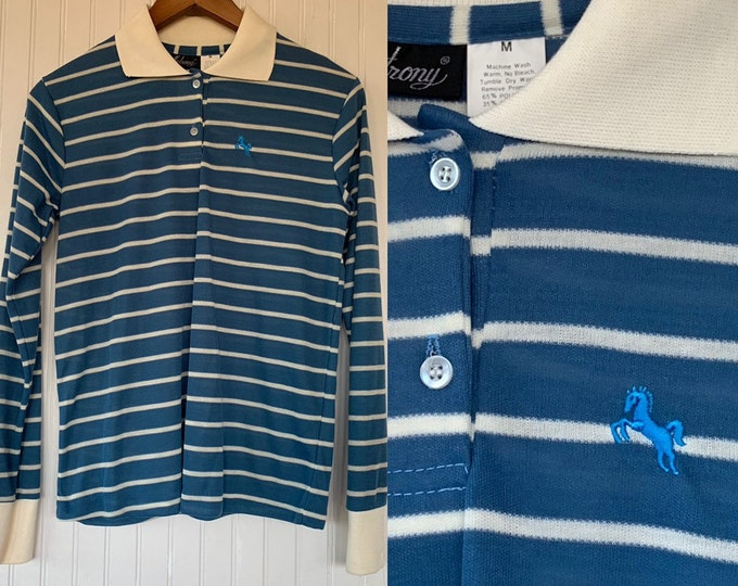 NWT 80s Vintage Blue White Striped Long Sleeve Polo Shirt Size Medium Top Deadstock Preppy Eighties Med Small M S/M Horse Logo Hipster