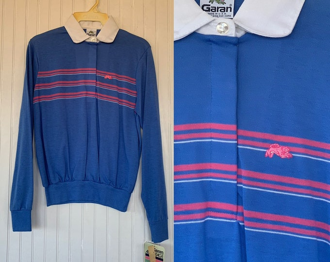 NWT 80s Vintage Garan Bright Blue Pink White Striped Long Sleeve Polo Shirt Size Large Top Deadstock Prep Eighties Lg L New Original Tags