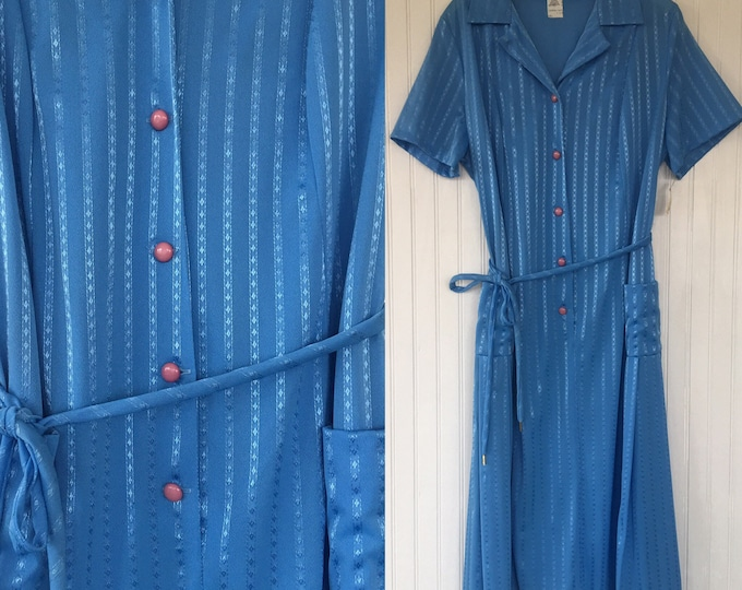 Vintage NWT 70s Bright Blue Sheer Dress Size Large Medium M/L - Deadstock 1979 80s Spring Summer Festival Turquoise House Dress