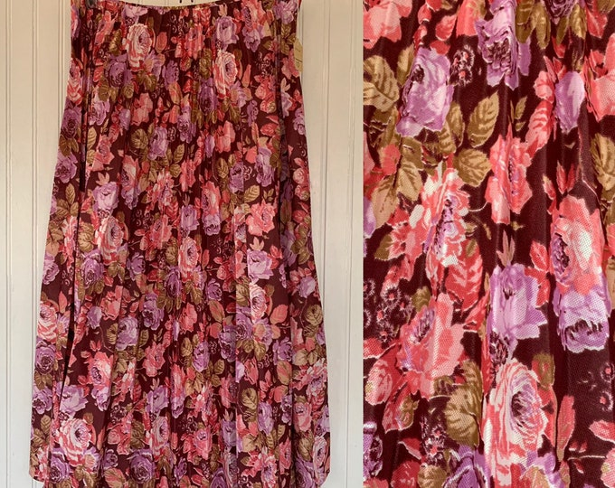 New Vintage 80s Small S/M Pleated Skirt Floral Print Pink Maroon Flowers boho Midi Deadstock Original Tags Festival Sheer Skirts Sm M 2 4 6