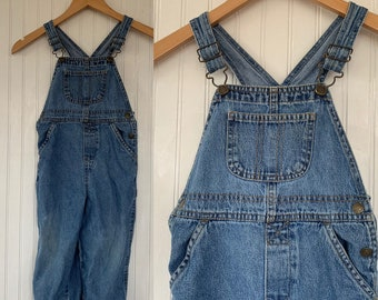 Vintage 90s Kids Size 4T Blue Jean Denim Overalls Coveralls Pants 4 Toddler Boys Unisex kids dungarees Faded Glory