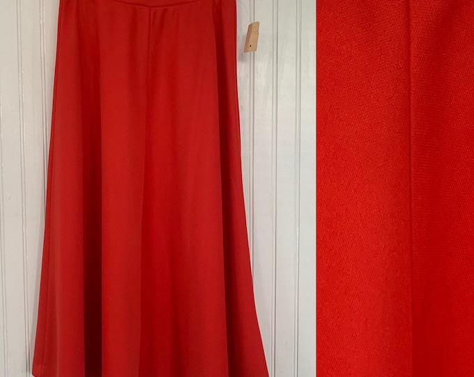 Vintage 80s Deadstock Red Skirt XS Below Knee Below Knee High Waisted 70s Boho Sheer 24 Waist NOS