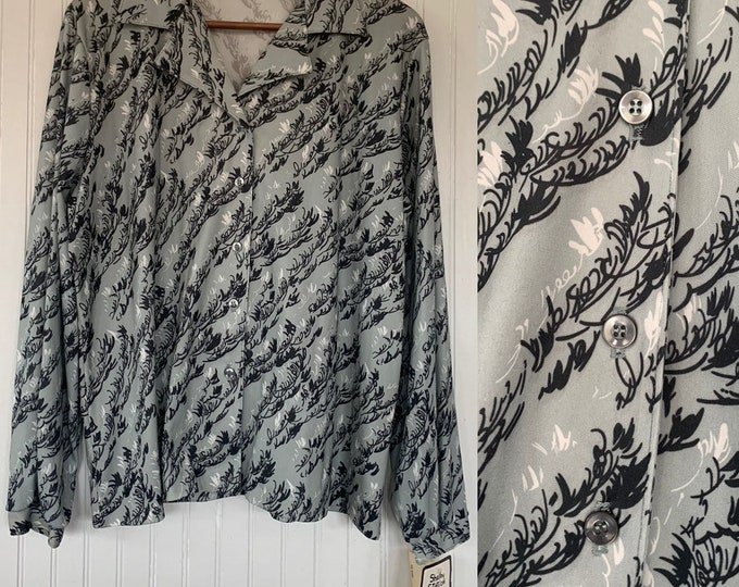 Vintage Deadstock 80s Grey Black White Groovy Disco Blouse Shirt Button Down Top Size XL Large Long Sleeve trippy wide collar 42 Bust